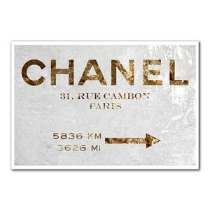 Oliver Gal Couture Road Sign Chanel Print